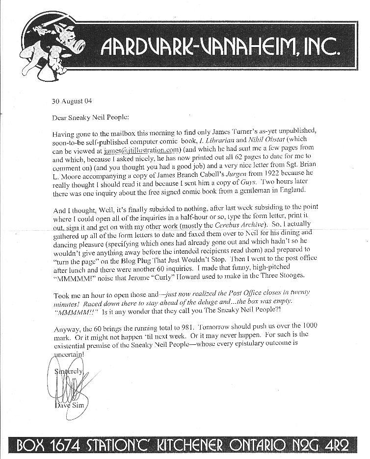 letter from Dave Sim