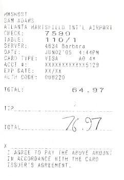 receipt from airport bar